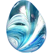 Signed and Dated Blue Swirl Art Glass Hand Cooler or Paperweight
