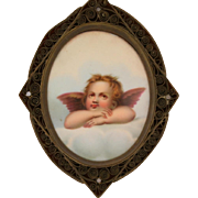 Porcelain Oval Cherub, Nicely Framed