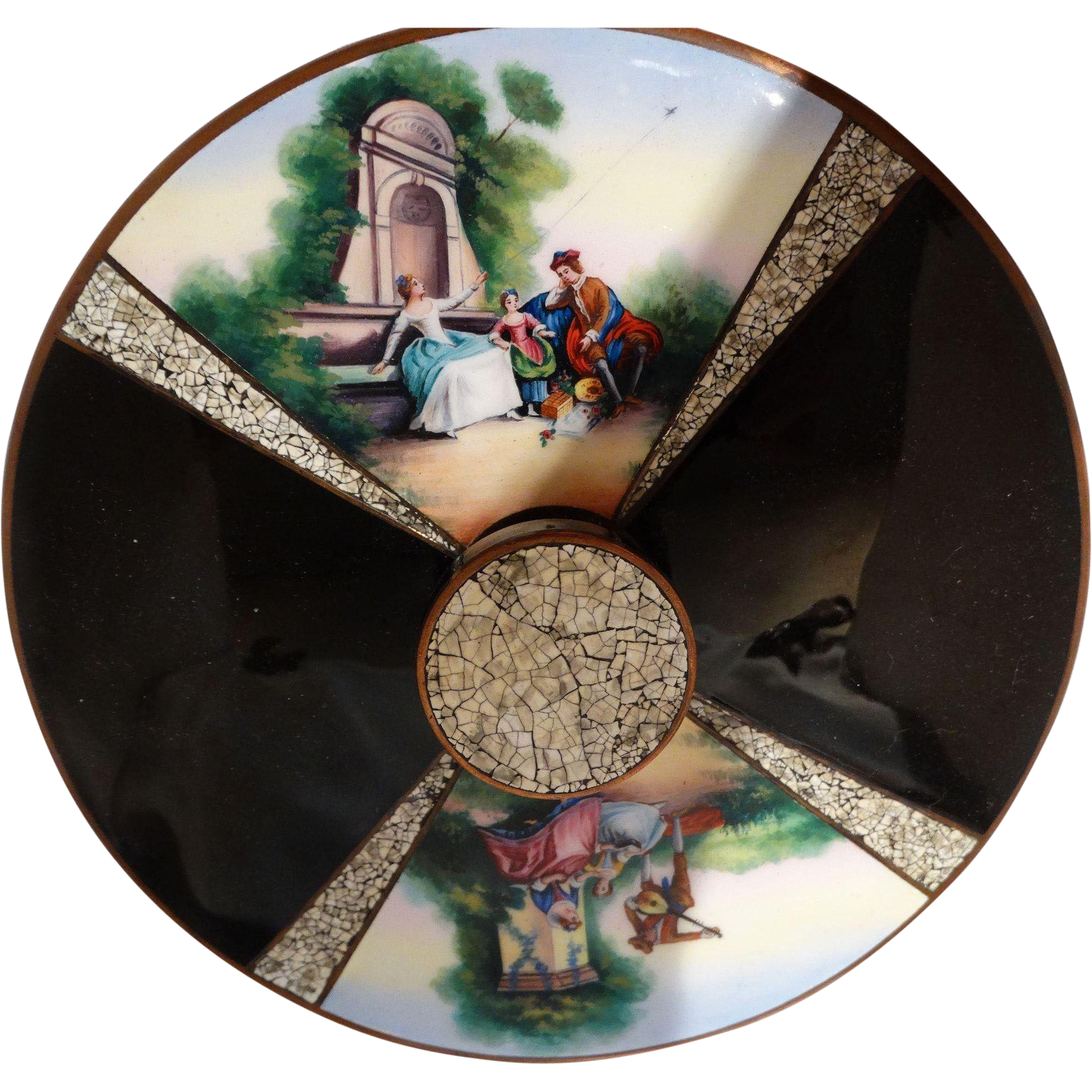 Exquisite Antique Boudoir Mirror With Enamel Scenes Divided By Very Rare Eggshell Enamel