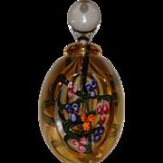 ROGER GANDELMAN Signed Gold Lustre Glass Perfume Bottle, Cut And Polished Front And Back