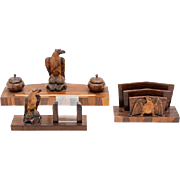 Carved Wood Desk Set, American, Ink Stand, Calendar Stand and Letter Rack, Each With Carved  Eagle