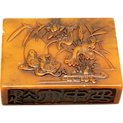 Carved Soapstone Paperweight With Mandarin Duck and Lotus Carving On Top and Calligraphy on Bottom and Side, Circa 1900