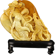 Hand-Carved Guanyin With Fenghuang Of Chinese Natural Shousan Stone