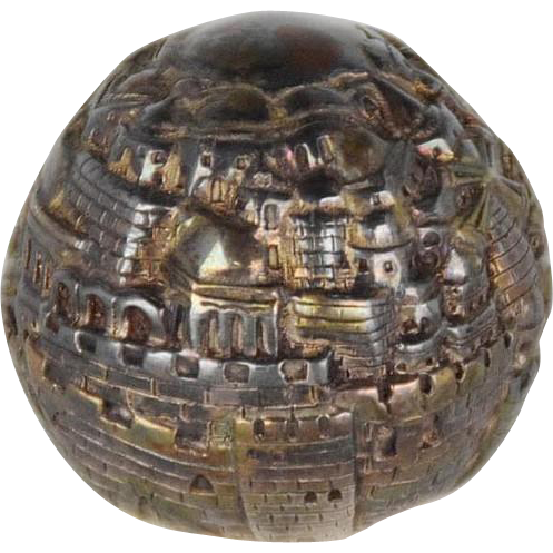 Silver Clad Israel Paperweight Panorama of Jerusalem, Signed,