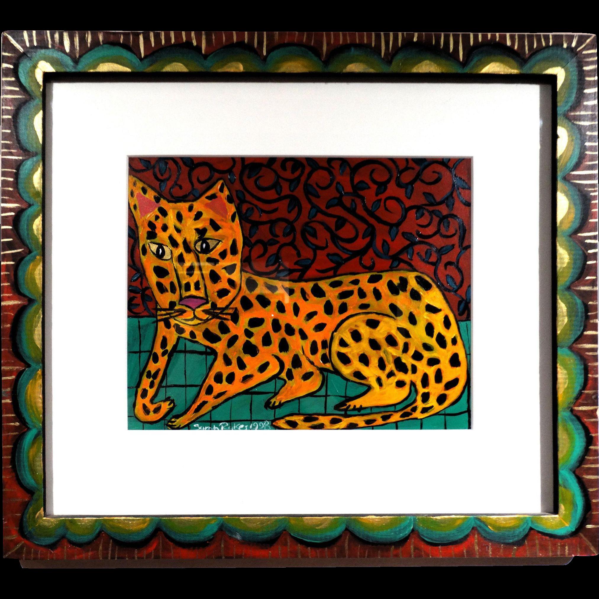 "SARAH RAKES (American, b 1955)  Original Oil Painting ""Tough House Cat"" - Folk Art - Outsider Art!"