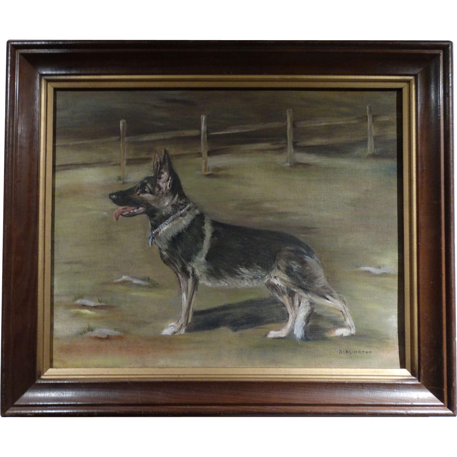 Original Signed Oil Painting of a German Shepherd