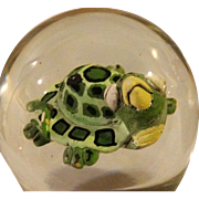 "Signed and Dated ""Turtle"" Art Glass Paperweight, Absolutely Adorable!  By Harry Boyer, c 1986."