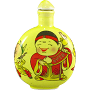 Hand-Painted Happy Chinese Porcelain Snuff Bottle, Signed