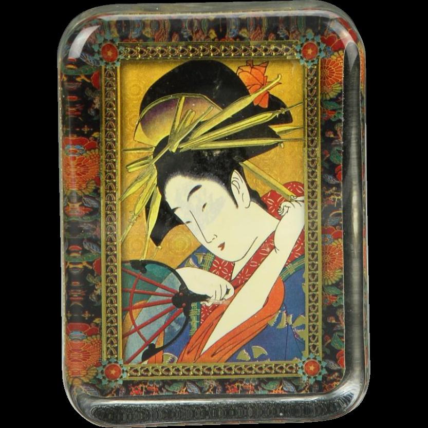 Japanese Geisha Portrait In Glass Paperweight