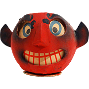 Unusual German Papier Mache Red Devil Jack-O-Lantern/Candy Container