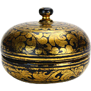 Small Black Lacquer & Gilt Lidded Box, Papier Mache,  circa 1870
