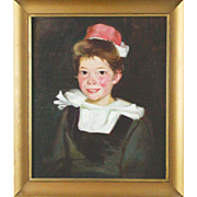 Antique Oil On Canvas Portrait Of Young Girl, Signed/Dated 1912