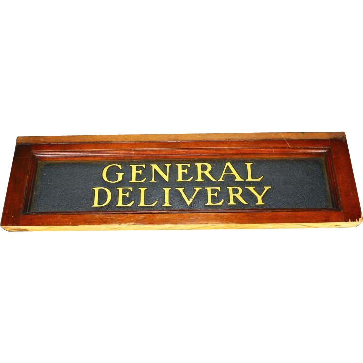 "Antique ""GENERAL DELIVERY"" Sign In A Mahogany Frame, circa 1900"