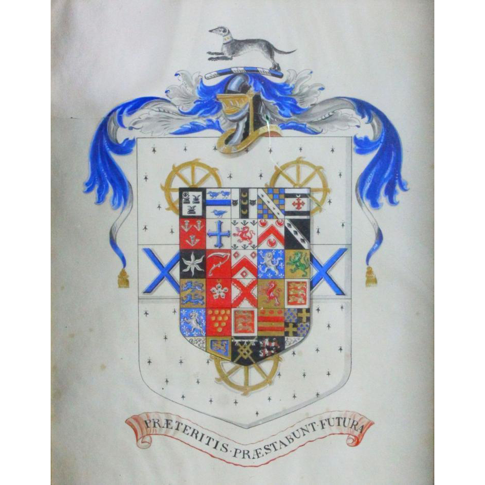 "Mixed Media  - Weasel Coat of Arms, ""Past and Future Help"" - 19th Century"