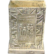 Golf Scenes On Match Safe, Silver-Plate, Made in Japan, circa 1920