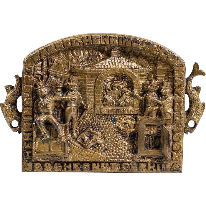 "Very Unusual Antique Brass Plaque With ""Test Oven,"" Safes, Seven Men, And Fish!  Farrel, Herring & Co. Philadelphia, PA,"