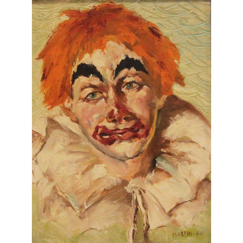 "Original Signed/Dated Oil Painting on Masonite - ""Sad Clown With Orange Hair"""