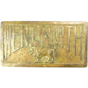 Vintage Wentworth Military Academy & College Uniform Brass Belt Buckle