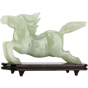 Jade Running Horse With Stand, Chinese