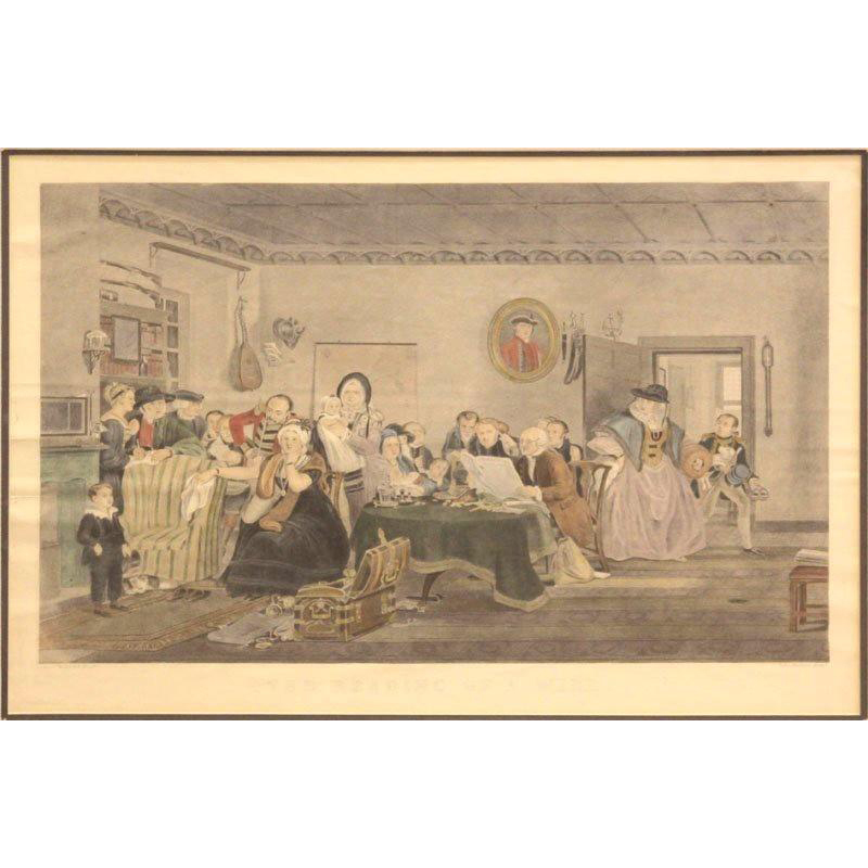 "Sir David Wilkie (Scotland/UK/United States/Spain 1785 – 1841) Large Signed Antique Hand-Colored Print - ""The Reading of The Will"""