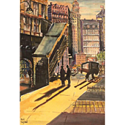 """Shadows In The City"" - Original Watercolor, Signed Listed Artist Michi Raphael (American 20th Century)"
