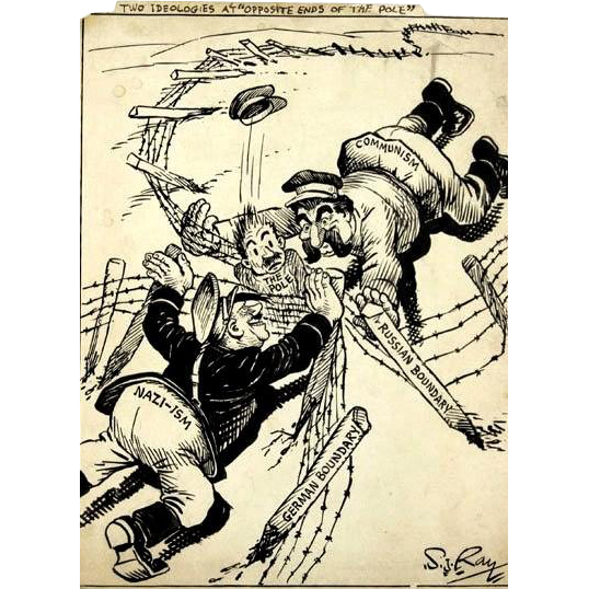 Original Signed Pen And Ink Political Cartoon, Circa 1940, By Honored Medal Recipient S. J. Ray (American 1891-1970)