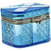 Exquisite Turn Of The Century Cobalt Cut Crystal Russian Box