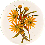 "CHRIS BUZZINI Glass Art ""Star"" One-Of-One Paperweight ""Orange Daisies"""