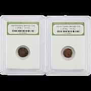 Two (2) Ancient Greek Bronze Coin Circa 300 B. C. - 100 B. C.