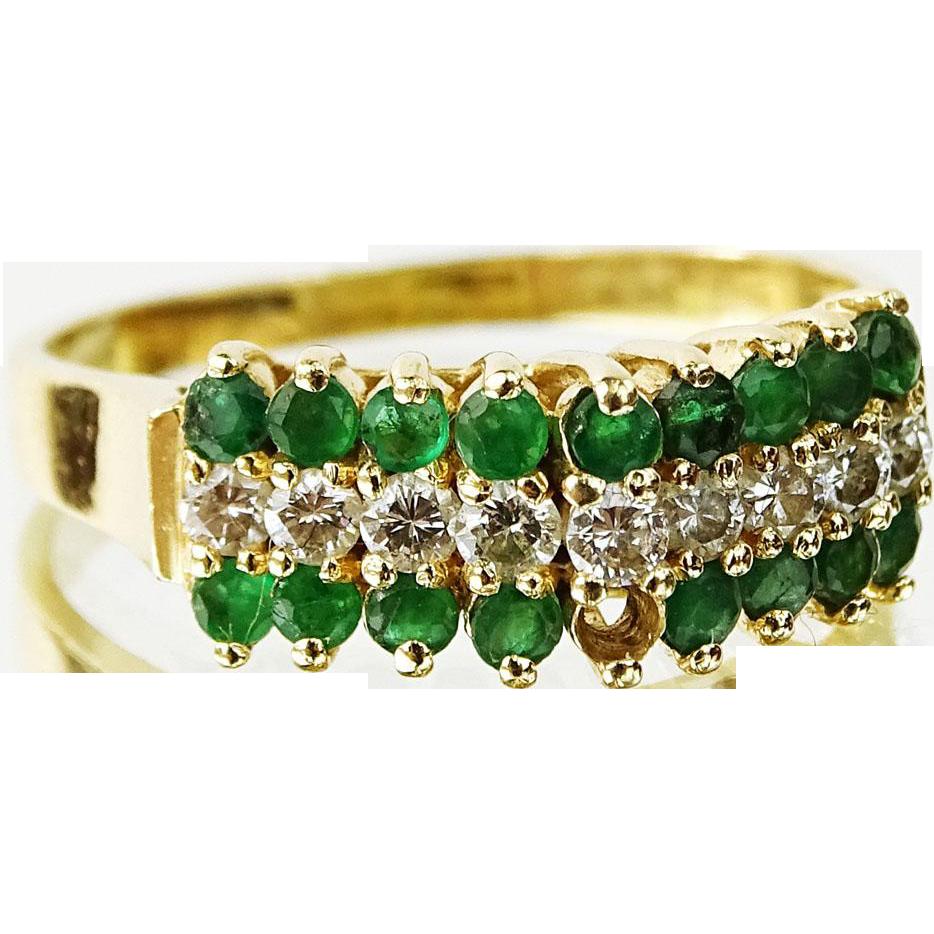 Emerald, Diamond and 14 Karat Yellow Gold Ring, Lady's Elegant And Understated Treasure