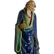 Large Chinese Standing Mudman With Ruyi (Scepter), Exceptional 10 inches Tall.