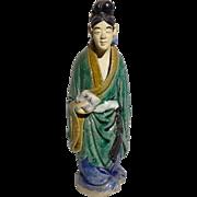 Unusual Chinese Mudman (Mudwoman) With Scroll