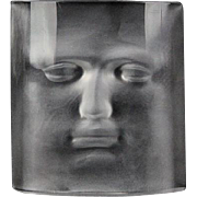 "DAUM Signed Crystal Sculpture Paperweight ""Face"" by Roy Adzak"