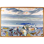"Bernard Chaet (American, 1924 - 2012), ""Blue Rocks at Sunrise,"" Original Signed Oil On Canvas"
