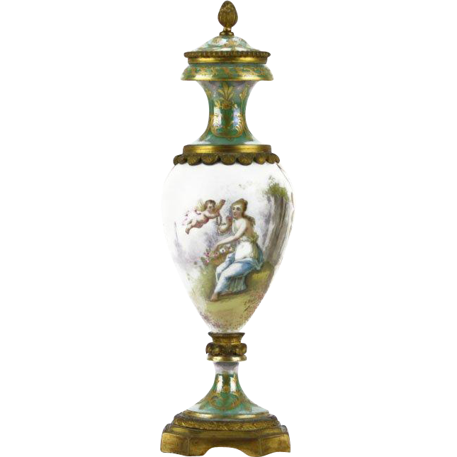 19th Century Sevres Hand Painted Porcelain Urn with Bronze Accents