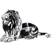 Swarovski Closed Edition Crystal Lion Paperweight With Brown Jewel Eyes, Simply Gorgeous!