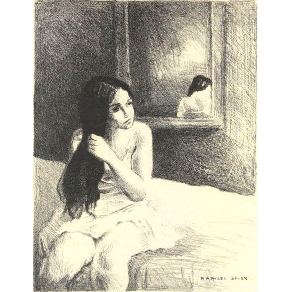 RAPHAEL SOYER (Russian/American 1899-1987) - Girl Seated On Bed - Framed and Matted Lithograph