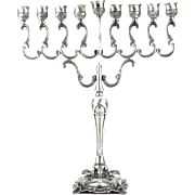 Elegant and Beautiful Large Pewter Menorah