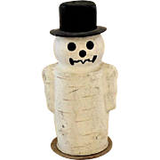 Christmas Snowman Papier Mache Candy Container, Signed Germany