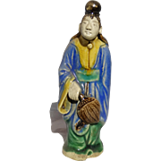 Unusual Mudwoman With Top-Knot Hair (Sign of Authority) and Fan (Sign of Integrity and Authority), Chinese