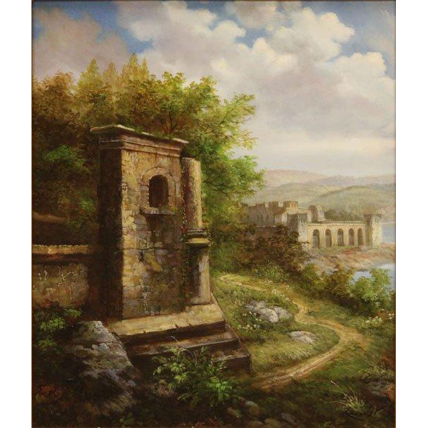 Original Large Signed Oil Painting, Classical Landscape,  Beautifully Framed,Extremely Well-Executed