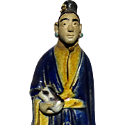 Excellent and Unusual Chinese Standing Mudwoman With Scroll
