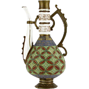 Unusual 19th Century Royal Rudolstadt Porcelain Hand-Painted Textured Ewer