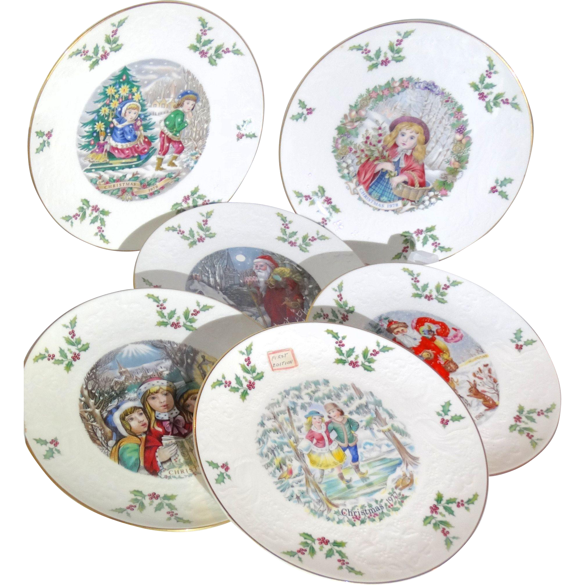 Royal Doulton Christmas Plates -First Through Sixth - 1977 through 1982
