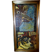 """ALEXANDER GORE (Russian 20th Century) """"Island Dog Yesterday and Today"""", Very Large Oil On Canvas, Signed, With COA"""