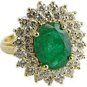 Absolutely Magnificent 3.50 Carat Emerald, 1.50 Carat Diamonds, 14 Karat Yellow Gold Ring - For less Than One-Third of Appraised Value!