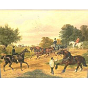 """CHARLES EDWARD BRITTAN I (British 1837 - 1888) - Original Signed/Dated Mixed Media On Paper """"A Meet Of The Hounds"""" circa 1865"""