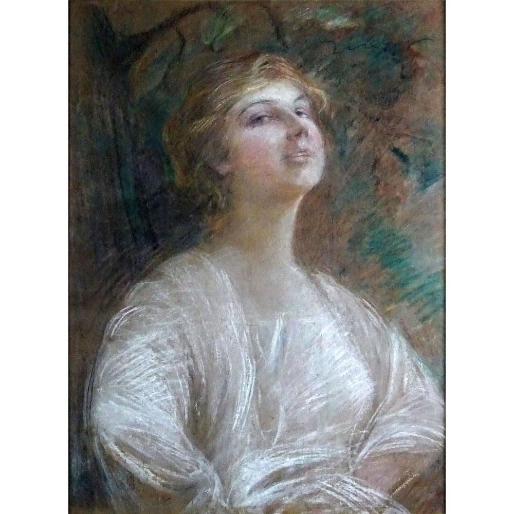"Teodor Axentowicz  (Polish 1859-1938) Original Pastel On Paper - ""Rapture"""
