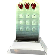 """MARY KAY SIMONI (American b. 1955) Signed and Dated Art Glass Sculpture """"Burning Building"""""""