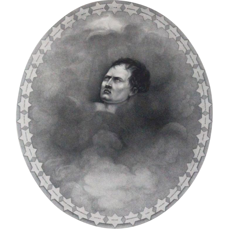 19th Century Stipple Engraving Of Napoleon In Clouds Surrounded By 38 Stars With Names Of His Battles